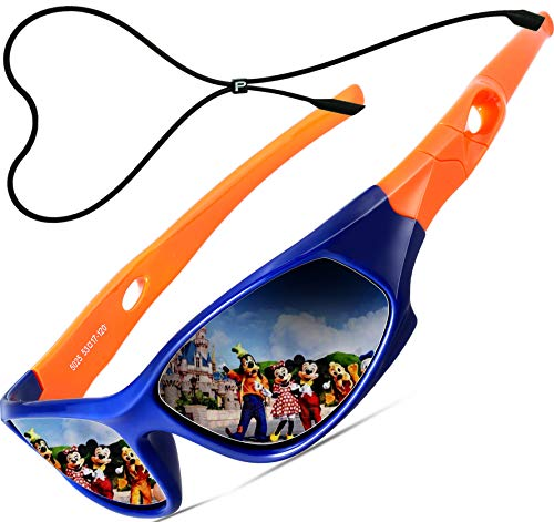 ATTCL Kinder Sonnenbrille TR90 Polarisierte Sportbrille für Jungen und Mädchen Alter 3-10 5025 orange-blue