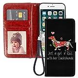 Naikuyi Funda tipo cartera para iPhone 6, iPhone 6S con diseño de perro salchicha y ranuras para tarjetas, funda tipo libro con correa de muñeca