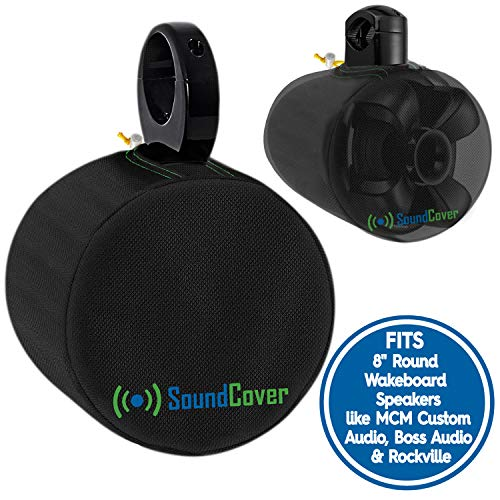 """2 Black Heavy Duty Marine Speaker Covers for Round 8quot Boat ATV Wakeboard Tower Pod Speakers  Fits Boss Audio MCM Custom Audio Rockville Marine Speakers Sold in Pairs Size H 14quot x W 14quot x D 128"""""""