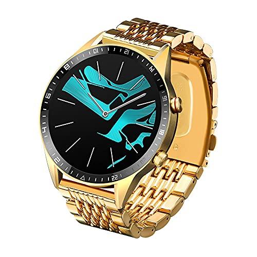 TYOP Smart Watch, Pantalla Redonda de Alta definición con Ajuste Completo de 1.3 Pulgadas, información de la información Impermeable a Prueba de Agua Smart Bluetooth Reloj Deportivo (Color : Gold)