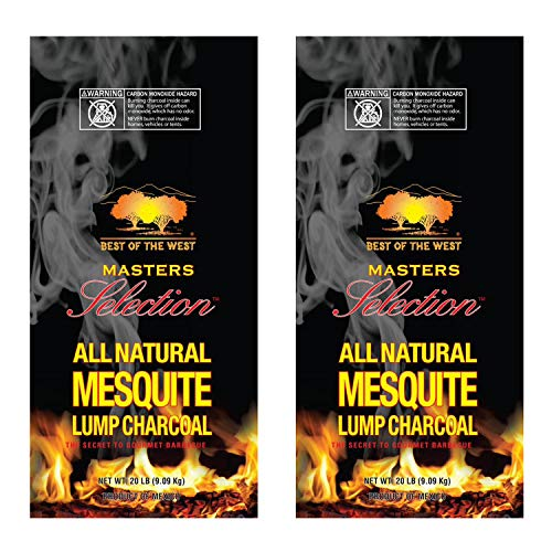 Best of the West All-Natural Mesquite Lump Charcoal for Grilling or Smoking, No Added Preservatives, 20-Pound Bag (2 Pack)