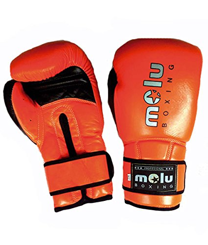 MoluBoxing - Guante Piel ultravox, 16 onzas, Color: Naranja