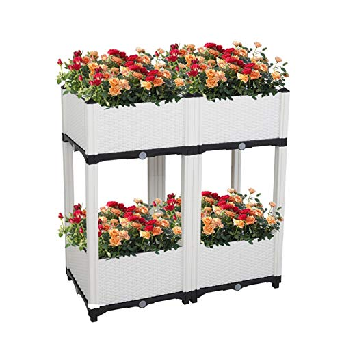 Jacquelyn Raised Garden Bed 4PC Raised Garden Beds for Indoor Outdoor Vegetables Fruits Potato Flowers All Weather White