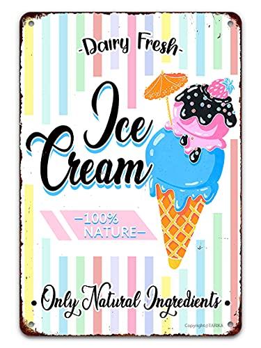 Letrero de lata para helado decoración vintage divertida helado fresco solo ingredientes naturales retro metal arte pintura cartel placa para fiestas bebidas frías tienda bar hogar cocina camión