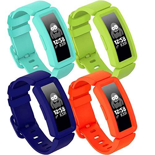 GVFM compatible con Fitbit Ace 2 bandas para niños 6+, silicona suave, resistente al agua, accesorios de pulsera deportiva para niños y niñas, azul, lima, naranja y verde azulado.