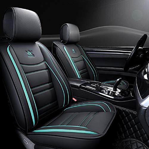 EverFabulous Coprisedili Auto in Pelle di Lusso 5 posti Set Completo Universale (Nero-Blu)