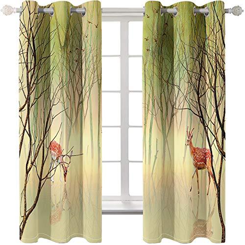 MMHJS Einfache Stil Wald Elch Serie Gedruckt Wohnzimmer Vorhänge, Schlafzimmer Wärmeisolierung Bodenvorhänge, Freie Perforation, Einfach Zu Installierende Erkerfenster, Kann In Gärten Und Balkonen