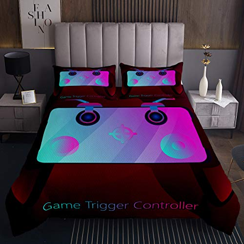Game Trigger Controller Bedspread Gamepad Softest Bedding Set Luxury Teenager Kids Children Boys Quilted Coverlet 3 Piece Coverlet Set with 2 Pillow Shams