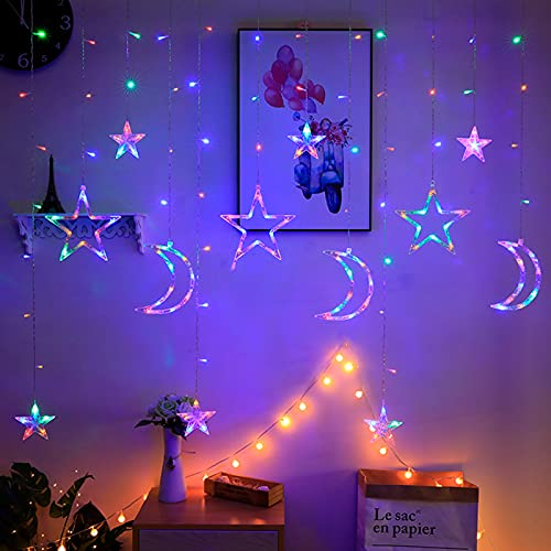 Lichterkette Bunt Sterne Mond, 3.5m*1.1m 8 Modi LED Fenster Lichterketten Vorhang Lichterkette für Zimmer Stimmungslichter ideale für Außenbeleuchtung und Innenbeleuchtung [Mehrfarbig]