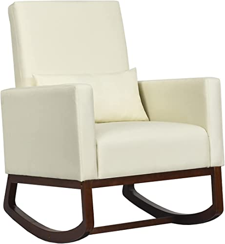lowest Giantex online Upholstered Rocking Chair, Modern High Back Armchair, Comfortable Rocker with Fabric Padded Seat, Waist outlet online sale Pillow and Wood Base Accent Chair for Nursery, Living Room, Bedroom, Office, Beige online