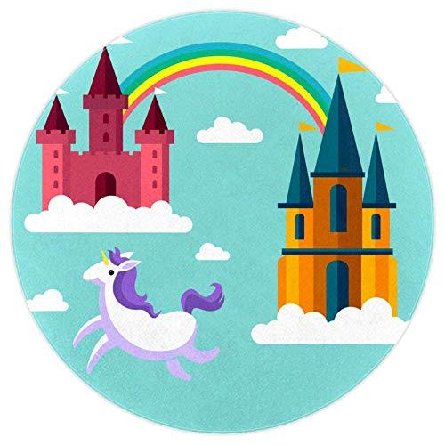 Castle Rainbow Unicorn Tapis bébé Tapis de jeu rond doux et antidérapant pour les tout-petits 160cm