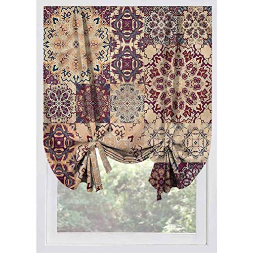 LCGGDB Vintage Blackout Tie Up Shades Panels,Antique Morroccan Art Room Darkening Rod Pocket Curtains Balloon Shades for Small Windows, Doors, French Doors, Kitchen Windows,32'x55'
