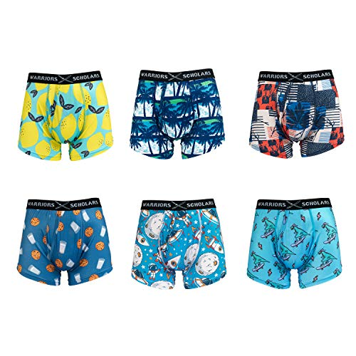 Warriors amp Scholar Men Trunk Underwear – Moisturewicking Trunk Boxer Briefs  2XLarge Pack Of 6