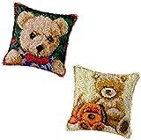 Kits de Gancho de pestillo de Bricolaje Tiro de Cobertura de Almohada Alfombra Impresa Patrón de Oso Lindo Patrón de Oso de Crochet Cultura de Costuras Set para niños Adultos 17''x17 '', a Crafts for