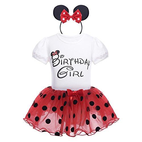 iiniim Conjunto de Disfraz Body de Algodón + Falda + Diadema Vestido Tutú Princesa Lunares de Organza Cumpleaños Disfraces Navidad Fiesta Cosplay para Bebé Niña (1-4 Años) Rojo 12-18 Meses