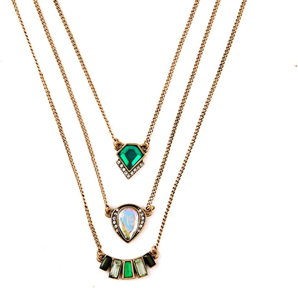 Multilayer Necklace Earring Green Stone Rhinestone Womens Set