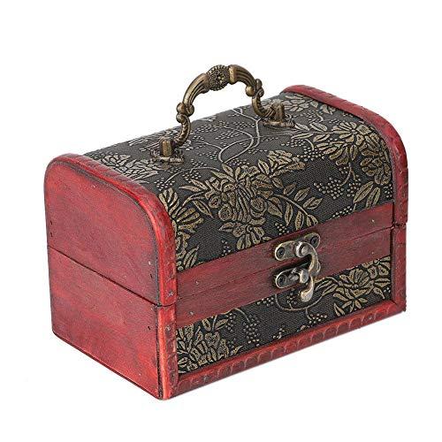 Fournyaa Caja de joyería hecha a mano de madera vintage caja de joyería de madera cuadrada para almacenar cables de auriculares para almacenar joyas