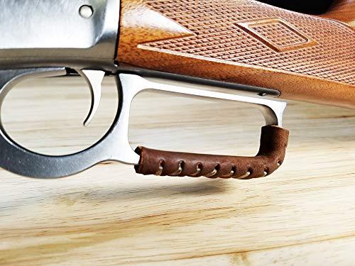 D4 Guns - Palanca de piel hecha a mano para rifles y escopetas de acción de palanca (marrón oscuro/marrón oscuro)
