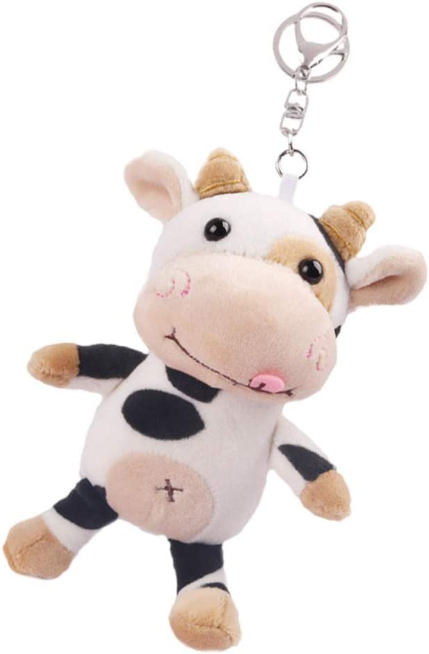 TOYANDONA Cow Keychain Plush Stuffed Cow Keyring Chinese Zodiac Year of The Ox Handbag Purse Charm Car Pendant Ornaments