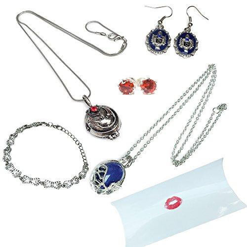 Orion Creations Vampire Diaries Geschenkpackung Halsketten, Ohrringe und Armband in Kissenkasten