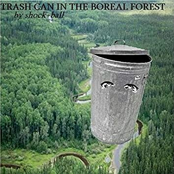 trash can in the boreal forest