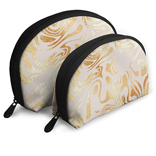 XCNGG Golden Marble Elegant Shell Shape Portable Bags Clutch Pouch Coin Purse Cosmetic Bag Unisex Travel Storage Baging Multifunction Child Wallet Key Case Handbag 2 Pcs