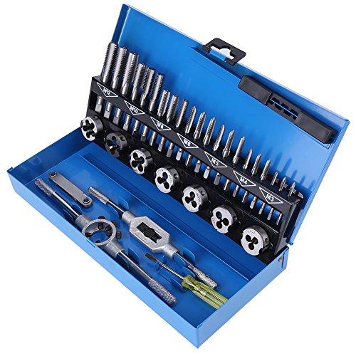 Juego de herramientas para machos de roscar, 32 piezas M3-M12 Juego de machos y matrices de acero de aleación de paso grueso con llave Herramientas manuales de calibre de rosca