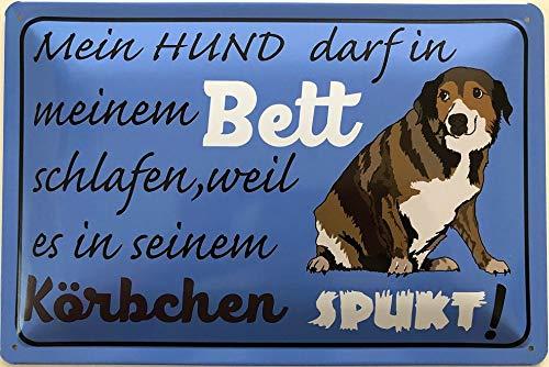 Deko7 blaszana tabliczka 30 x 20 cm mój pies może spać w moim łóżku, ponieważ znajduje się w koszyku