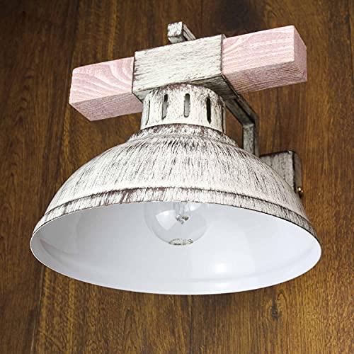 lampada da parete shabby Lampada da parete Vintage/Shabby bianco / 1x E27 fino a 60W 230V / Lampada in legno e metallo/Lampada da parete Shabby Chic/rustico Lampade da sala da pranzo Cucina Illuminazione soggiorno