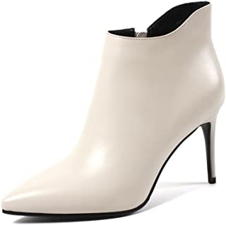 Nine Seven Genuine Leather Women's Clear Pointed Toe Ankle Booties - Handmade Stiletto High Heel Side Zipper Dress Boots