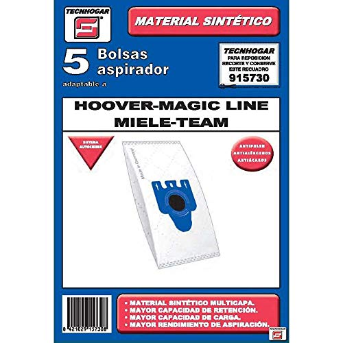 Tecnhogar 915730 Bolsa aspirador, Plástico, Blanco