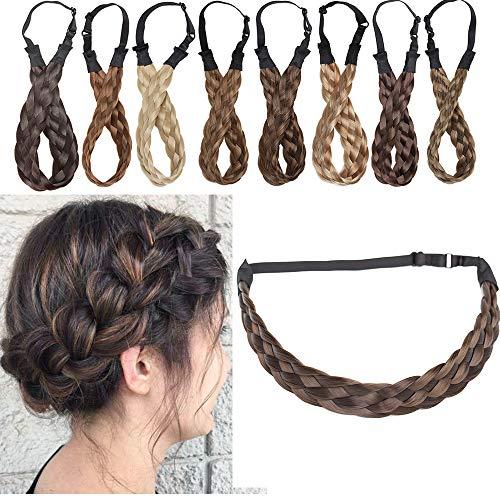 Extensions Haarband geflochtene Braids Haar Haarverlängerung verstellbare Stirnband elastische Stretch Haarteil Beauty-Accessoire für Frauen Kastanienbraun & Aschbraun...