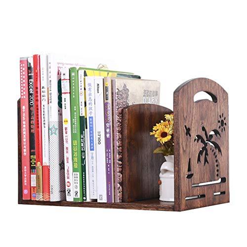 Bibliothèques Petite bibliothèque de bureau en bois massif créatif support de rangement pour livre de bureau simple support de table (Color : Brown, Size : 34x18x20cm)