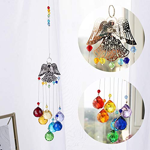 WEISIPU Hanging Angel Crystals Suncatcher Pendant Rainbow Crystal Ornament Crystal Ball Prism Chakra Crystals for Window Garden Home Decor