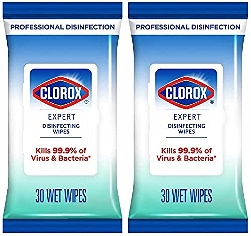 Clorox Expert Disinfecting Wipes | Kills 99.9% Germs and Virus | Multi Purpose | Can be used on soft and hard surfaces | Ideal for home, office or while traveling | (Flow Pack-30 Wipes)- Pack of 2