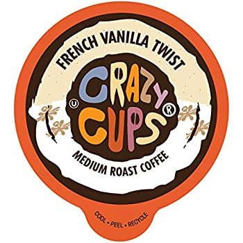 Crazy Cups Flavored Coffee Pods French Vanilla Twist French Vanilla K Cups Single Serve Coffee for Keurig K Cups Machines Hot or Iced Coffee Medium Roast Coffee in Recyclable Pods 22 Count