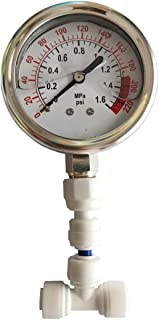 Malida Water Pressure Gauge Stainless for Aquarium Meter 0-1.6MPa 0-220psi Reverse Osmosis System Pump with 1/4