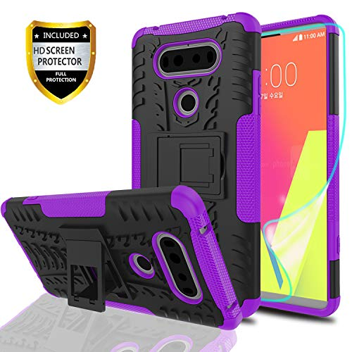 YmhxcY LG V20 Phone Case with HD Screen Protector,Military Armor Drop Tested [Heavy Duty] Hybrid Case with Kickstand for LG V20 (2016)-LT Purple