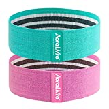 Aoralivre Fabric Resistance Bands for Legs/Butt/Glute/Squats Stretch Workout Exercise Booty Bands for Women Indoor Fitness (Beginner Level-Aqua&Pink)
