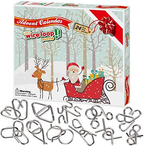 Wesimplelife 2020 Calendario dell'Avvento di Natale 24Pcs Sorprese Natalizie Puzzle Rompicapo Calendario per Il Conto alla Rovescia per Bambini e Adulti