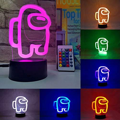 YFEI 3D Among Us Nachtlicht, LED Optical Illusion Lampe 16 Farben Dimmbar USB Powered Touch Control + Fernbedienung Für Jungen Mädchen Kindergeburtstagsgeschenk,Among us2