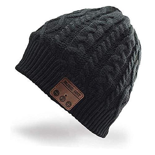 HaetFire Cappello Bluetooth, Berretto Wireless Bluetooth 5.0 Musica Cappello Caldo Lavorato a Maglia Cappello Sportivo da Esterno Campeggio Sci, Elettronici Regali di Natale per Uomo Donna (Nero)