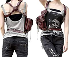 FiveloveTwo® Men Women Multi-purpose Tactical Drop Leg Arm Bag Pack Hip Belt Waist Messenger Shoulder Fanny Packs Steampunk Bag Wallet Purse Pouch Bag Red Brown #5