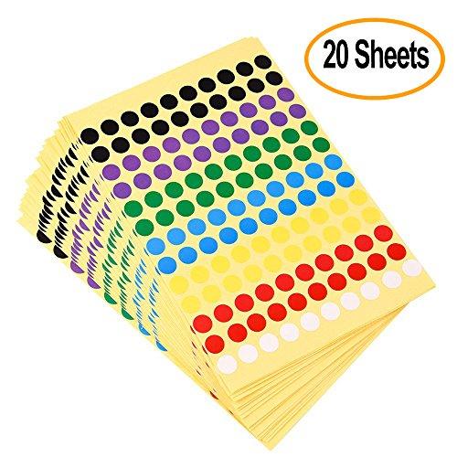 Kuuqa 20 Blätter Selbstklebender Punktaufkleber Etiketten Runde Farbcodierung Etikett 8mm, 7 Farben, 2600 Punkte