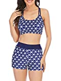 Womens Bathing Suit Two Piece Swimsuits Floral Top with Boyshort Bottoms Athletic Swimwear for Women Starry Sky L
