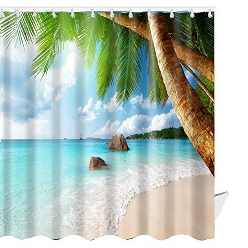 ABxinyoule Duschvorhang mit Seesternen, wasserdicht, mit Haken, Badezimmer-Dekor