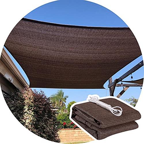 LYQCZ Lona De Sombra Toldos Red, Bloque UV Sombrilla Tela Toldo Abrigo con Ojales para Pérgola Patio Interior Jardín (Color : Brown, Size : 1.5x3m/4.9x9.8ft)