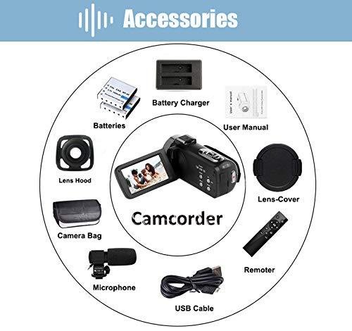Videokamera Camcorder 4K Ultra HD 48MP WiFi Videokamera für YouTube 3,0 Zoll Touchscreen Nachtsicht Videokamera 4K Camcorder mit Externem Mikrofon