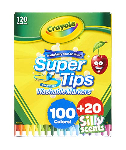 Crayola Super Tips Marker Set, Washable Markers, Assorted Colors, 120Ct & Ultra Clean Washable Multicultural Markers, Broad Line, 10 Count