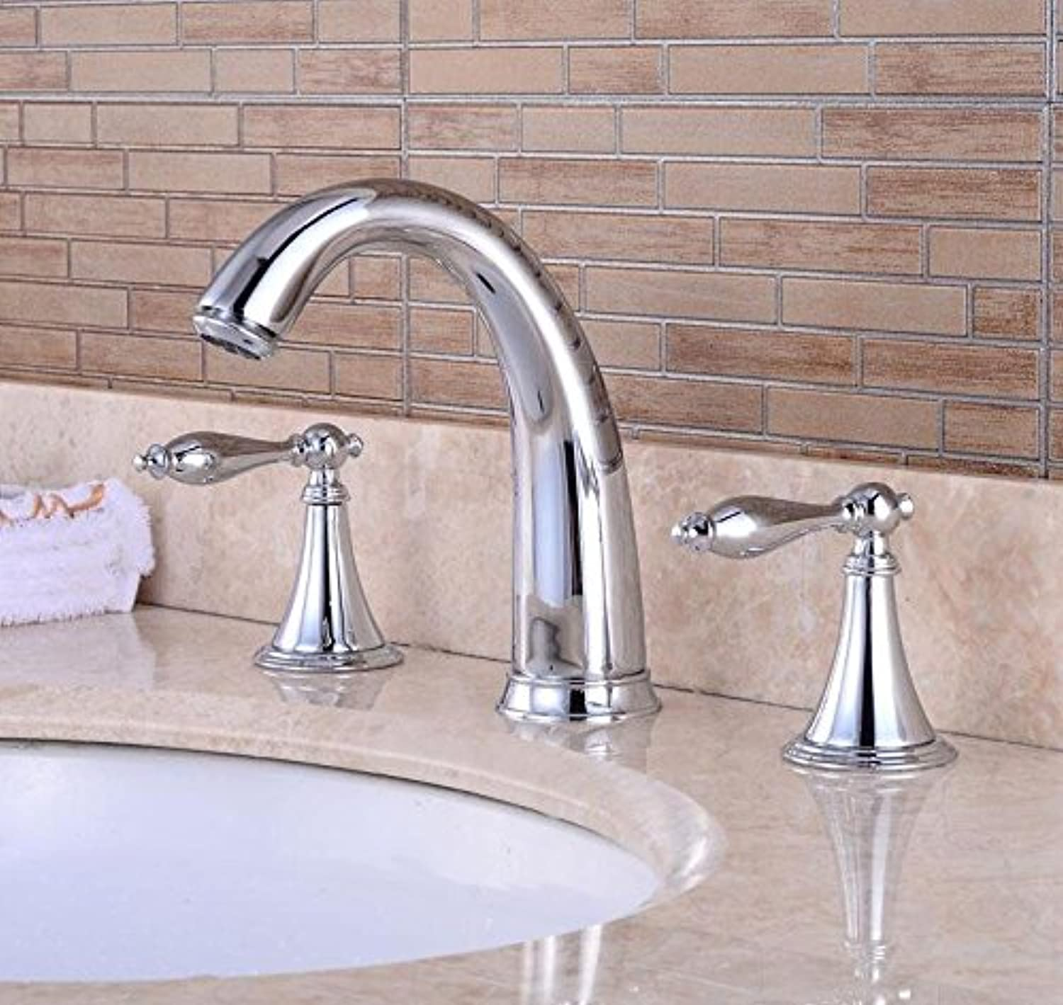 QUSLT golden Faucet Three Dark Wash Basin Faucet Open Bathroom Basin Faucet gold,Electroplating B